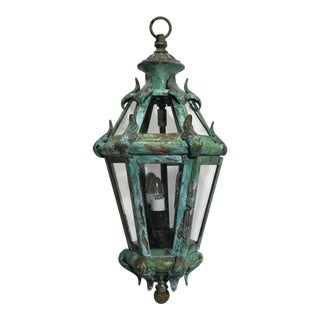 Italian Contemporary Hand Crafted Solid Brass Hanging Lantern