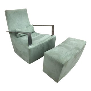 Contemporary Ligne Roset Mint Microsuede Rocker With Ottoman - 2 Pieces
