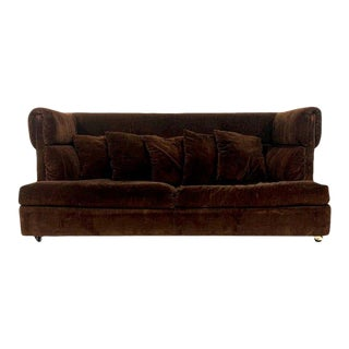 Early Milo Baughman Shelter Sofa in Chocolate Brown Velour Midcentury Modern Classic For Sale