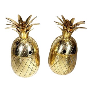 20th Century Art Deco Solid Brass Pineapple Pineapple Containers - a Pair For Sale