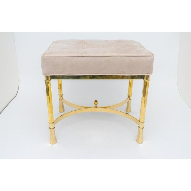Vintage Mastercraft Benches Stools Brass and Ultrasuede - a Pair For Sale - Image 11 of 13