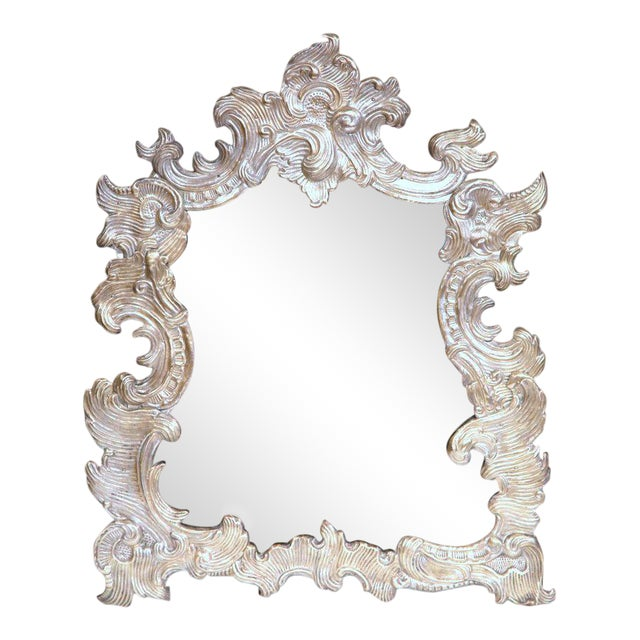 French Repousse Silvered Copper Vanity Mirror - Image 1 of 7