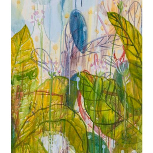 Alex K. Mason original abstract floral landscape painting, 2018. Ink, acrylic and gouache painting on unframed, stretched...