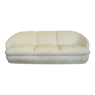1980s Weiman White Velvet Cloud Three Seater Sofa For Sale