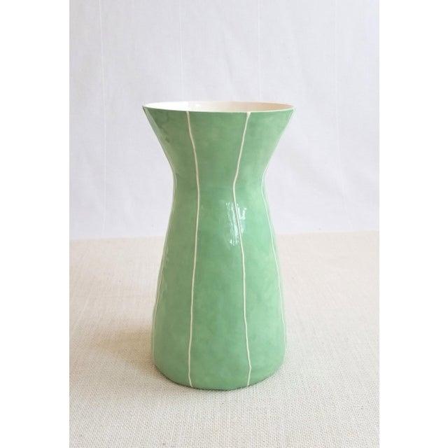 2020s Modern Handmade Celery Green Ceramic Vase For Sale - Image 5 of 5