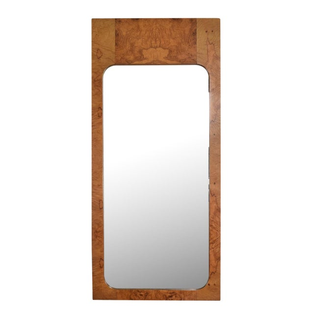 Mid-Century Modern Wall Mirror in Burl Wood For Sale