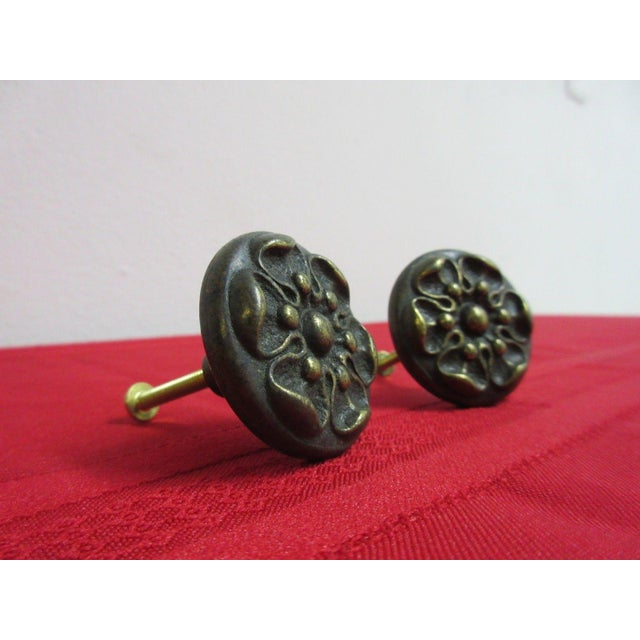 French Henredon Brass French Country Drawer Handles - a Pair For Sale - Image 3 of 4