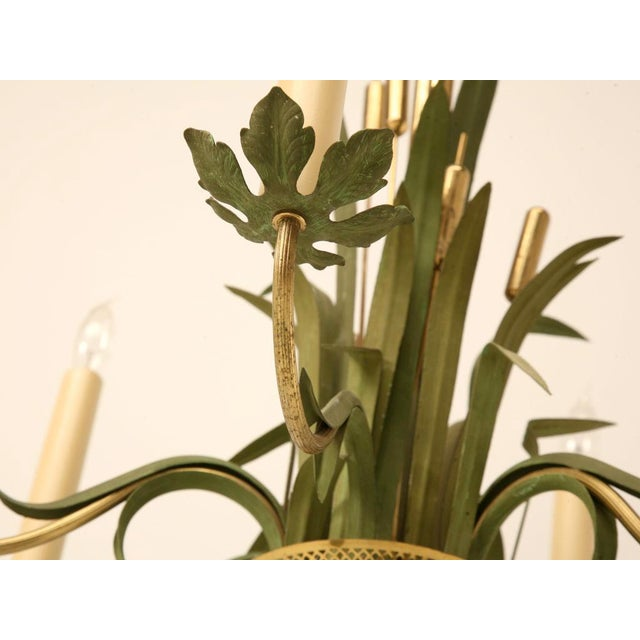 Green Vintage Continental 6-Light Metal Cattail Chandelier For Sale - Image 8 of 11