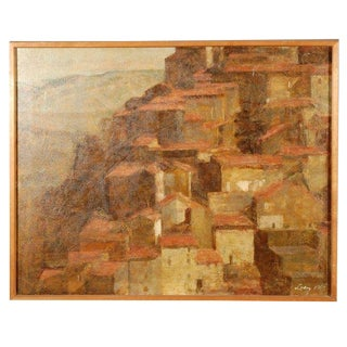1967 Vintage Oil Painting of Anticolie Corrado, Italy by Lacy For Sale