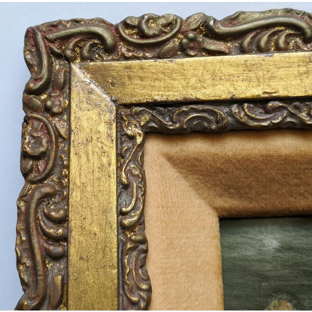 Gold Late 19th Century German Hand Painted Figurative Porcelain Plaque, Framed For Sale - Image 8 of 12