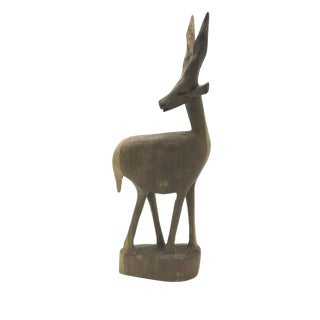 Mid-Century Handcarved Wood Gazelle For Sale