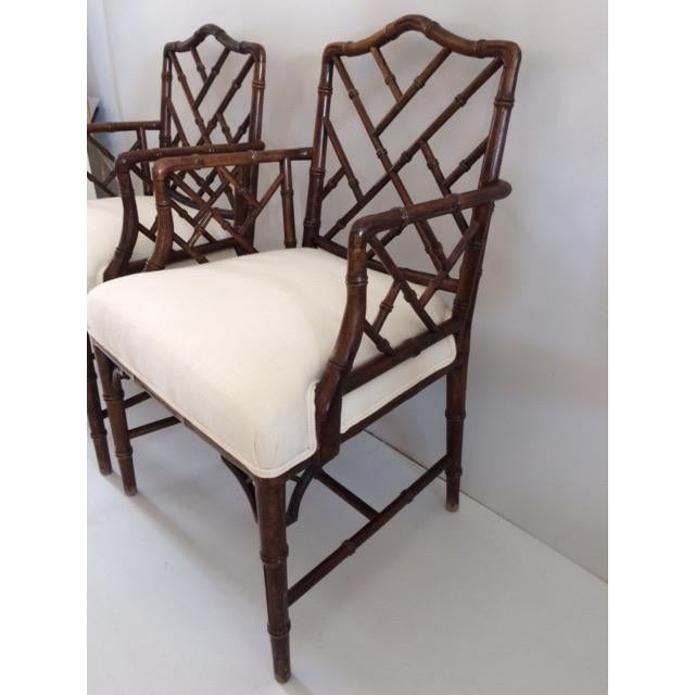White 1980s Vintage Faux Bamboo Arm Chairs- A Pair For Sale - Image 8 of 13