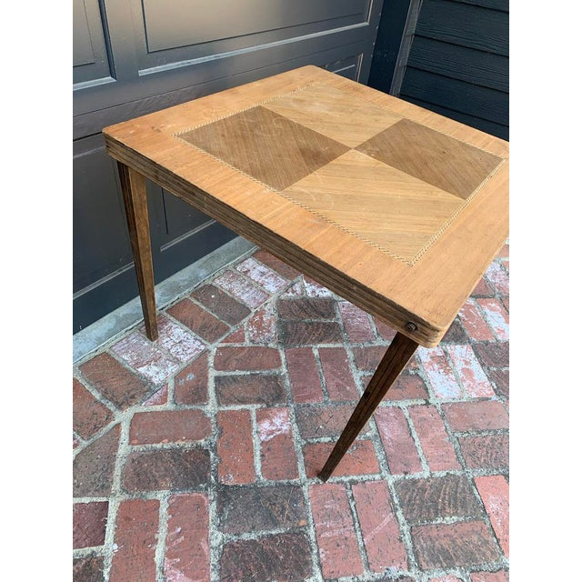 1920s Antique Mid-Century Modern Wood Inlay Folding Game Table For Sale - Image 5 of 10