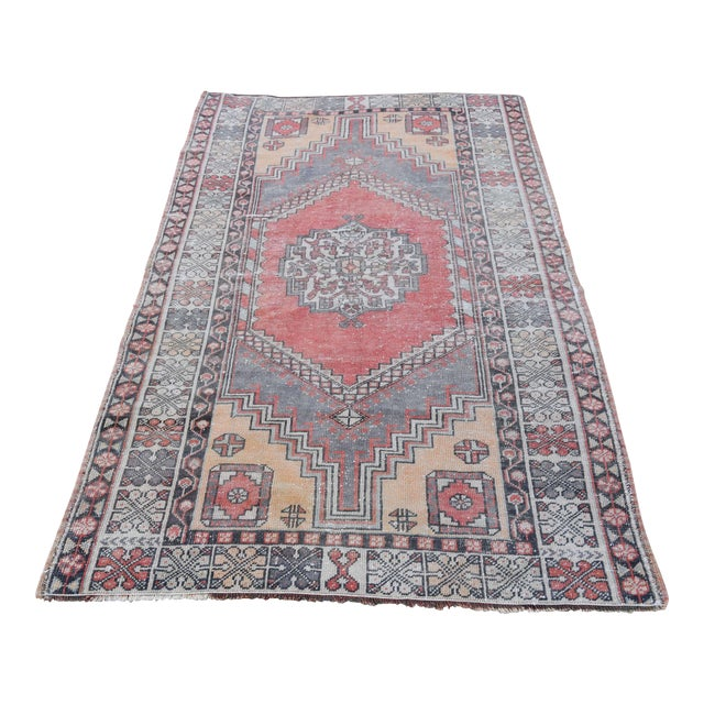 Distressed Turkish Oushak Rug - 3′11″ × 6′1″ - Image 1 of 9