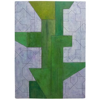 Modern Series Abstract Geometric Oil Painting on Paper by Stephen Cimini For Sale