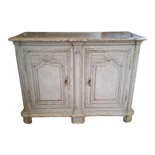 18th Century Louis XIV painted Buffet with faux marble top For Sale
