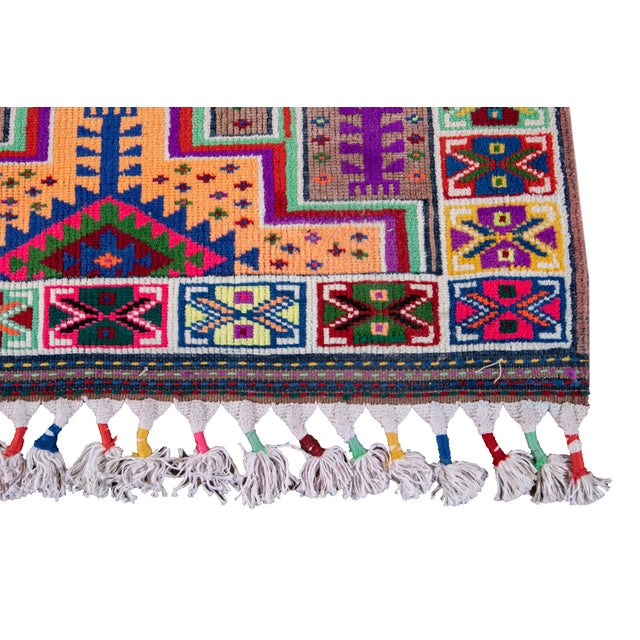 Textile Mid-20th Century Colorful Vintage Turkish Wool Runner Rug 3 X 13 For Sale - Image 7 of 12