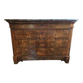 Louis Philippe Mahogany Four Drawer Chest With Gray Marble Top For Sale