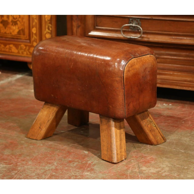 Early 20th Century Czech Pommel Horse Bench With Patinated Brown Leather For Sale - Image 4 of 10
