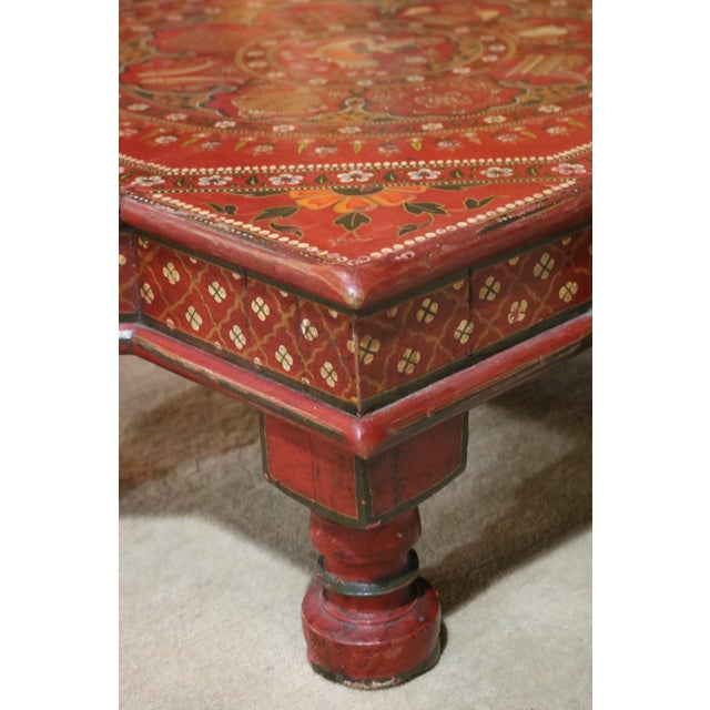 1920s Indian Painted Wooden Low Coffee Table For Sale - Image 4 of 6