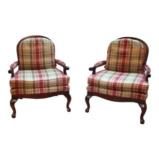Fairfield Plaid Upholstered Armchairs - a Pair