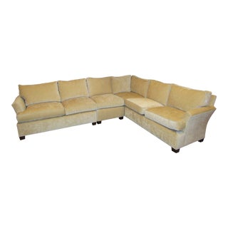 Contemporary Baker Furniture Gold Chenille Sectional For Sale