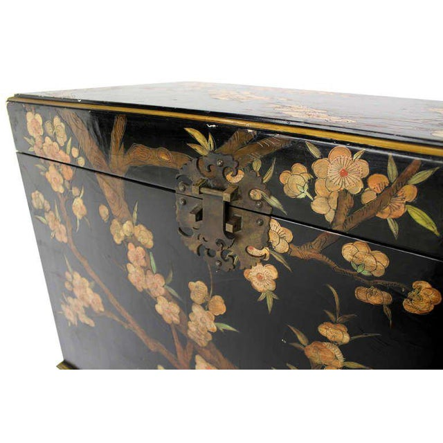 Asian Vintage Mid Century Oriental Hand Painted Black Lacquer Bar Chest For Sale - Image 3 of 10