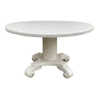 Large Round Wicker Pedestal Dining Table For Sale