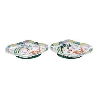 1970 Chinese Qianlong Style Famille Verte Porcelain Footed Sweetmeat Dishes - a Pair For Sale