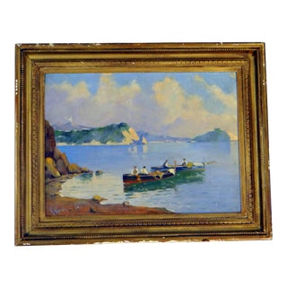 Italian Coastal Painting With Mount Vesuvius by Henry Ravell (1864 – 1930 California) For Sale