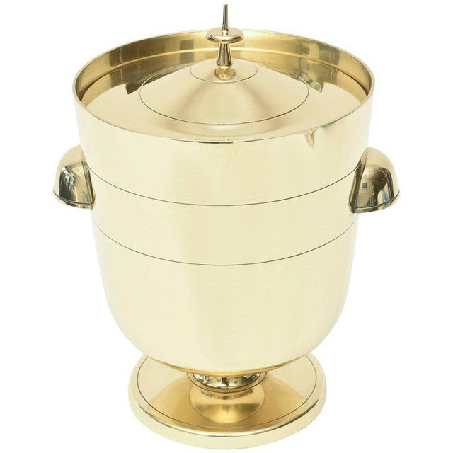 Vintage Midcentury Tommi Parzinger Brass Ice Bucket Champagne Bucket Barware For Sale - Image 11 of 11
