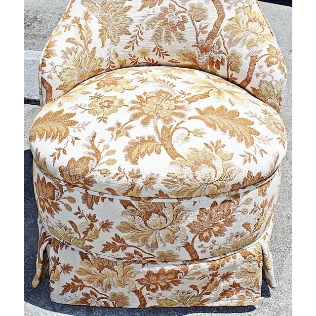 Brocade Slipper Chairs - A Pair - Image 5 of 6