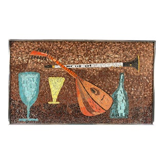 MCM Framed Mosaic Art Still Life of Lute and Wine Glasses For Sale