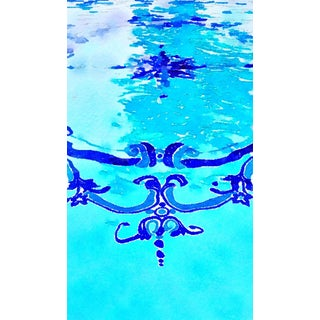 Hollywood Regency Styled Swimming Pool No. 2 - Swimming Pool Art - Digital Watercolor Print From Original Color Photograph by Suzanne MacCrone Rogers For Sale