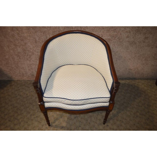Mahogany Vintage Sheraton Style Inlaid Mahogany Barrel Back Accent Chair For Sale - Image 7 of 13