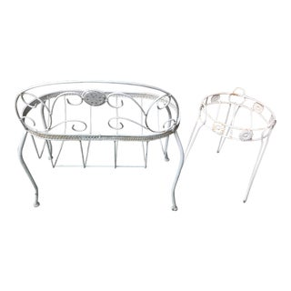 1980s White Wrought Iron Plant Stand Set - 2 Pieces For Sale