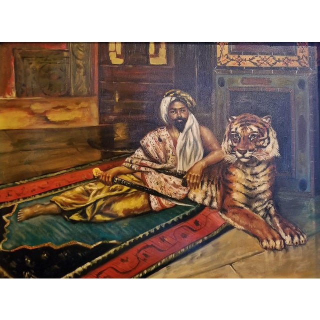 19c Oil on Canvas of Raj or Prince with Tiger For Sale In Dallas - Image 6 of 9