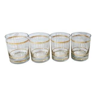 Vintage Mid-Century Culver Stripes Lowball 22kt Gold Glasses - Set of 4 For Sale
