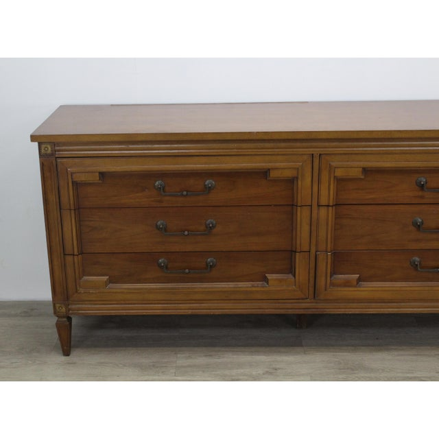Mid-Century Modern Walnut Six Dresser With Brass Hardware For Sale In Miami - Image 6 of 12