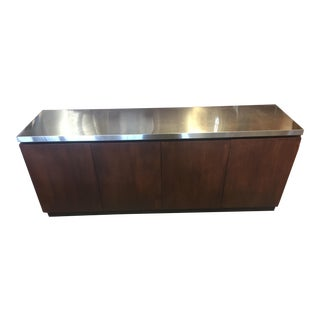 Milo Baughman Modern Walnut & Chrome Top Buffet For Sale