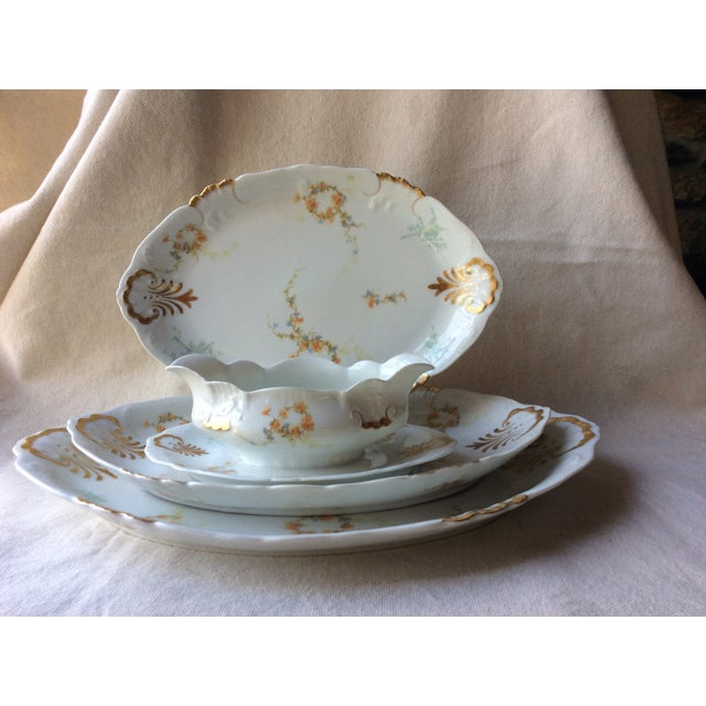 French Heirloom Porcelain Gravy Boat and Platters Serving Pieces - 4 Pc. Set For Sale - Image 12 of 13