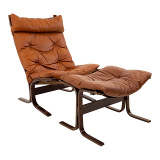 Vintage Mid Century Westnofa High Back Rosewood Lounge Chair and Ottoman For Sale