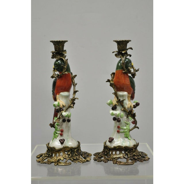 French Green & Yellow Parrot Candlestick Candle Holders-a Pair For Sale - Image 9 of 11