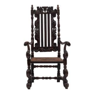 English Charles II Walnut Arm Chair For Sale