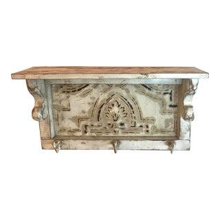Vintage Wooden Shelf With Vintage Metal Ceiling Tile Back For Sale