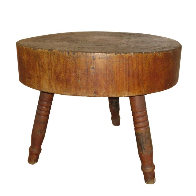 Butcher Block Table Early 19th Century American For Sale