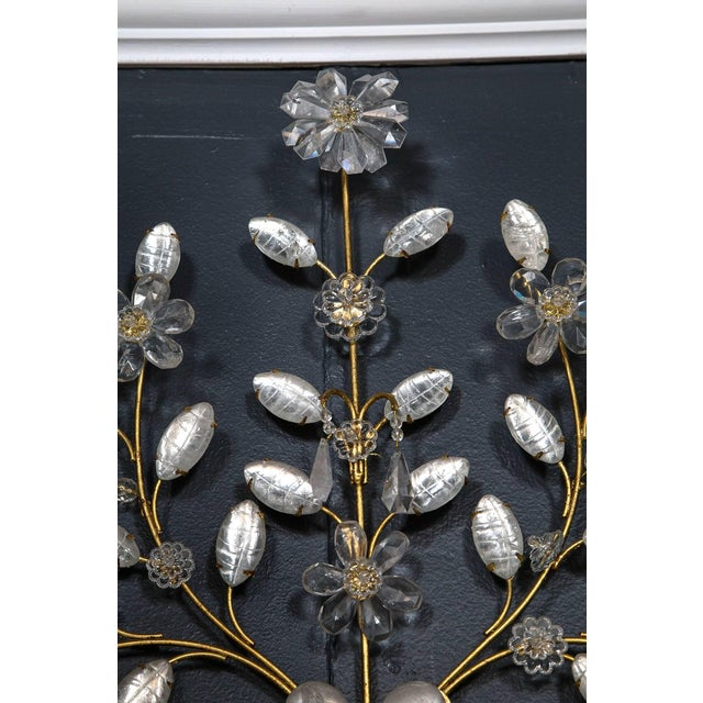 1930s Baguès Four-Light Bird Rock Crystal Wall Sconce For Sale - Image 5 of 6
