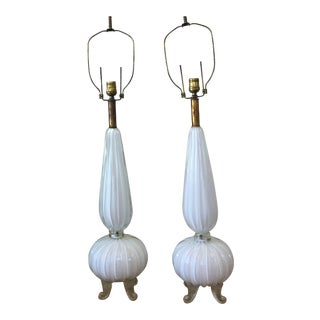 Vintage Barovier & Toso Murano Seguso Milkglass Lamps - a Pair For Sale