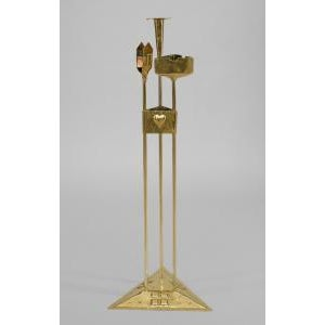 Early 20th Century American Mission Arts & Crafts (20th Cent) brass smoking stand on triangular base For Sale - Image 5 of 5