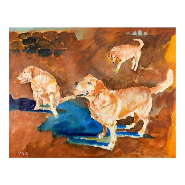 1980s Impressionist Yellow Lab Dog Study Painting by William Kolbe For Sale